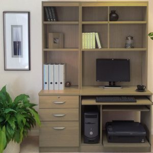 Small Office Desk Set With 3 Drawers, Computer Workstation & Hutch Bookcases, English Oak, Free Standard Delivery
