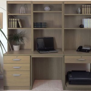 Small Office Desk Set With 3+1 Drawers, Printer Shelf & Hutch Bookcases (English Oak), Free Standard Delivery