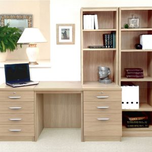 Small Office Desk Set With 4+3 Drawers & Bookcases (Sandstone), Free Standard Delivery