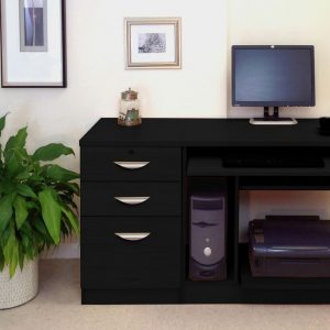 Small Office Desk Set With Computer Workstation & 3 Drawers, Black Havana, Free Standard Delivery