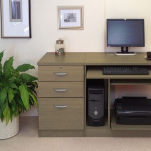 Small Office Desk Set With Computer Workstation & 3 Drawers, English Oak, Free Standard Delivery