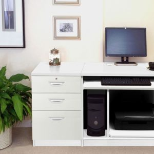 Small Office Desk Set With Computer Workstation & 3 Drawers, White, Free Standard Delivery