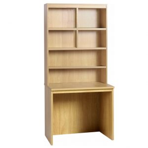 Small Office Rectangular Desk With Hutch Bookcase (Classic Oak), 85wx54dx182h (cm), Free Standard Delivery
