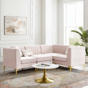 Triumph Channel Tufted Performance Velvet 4-Piece Sectional Sofa in Pink