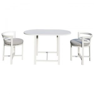 Winona 3 Piece Aluminium Balcony Dining Table Set, 120cm, White