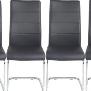 4 x Urban Deco Malibu Black Faux Leather Swing Dining Chair