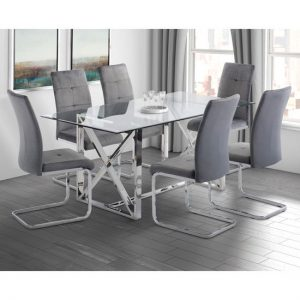 Albany Glass Dining Set In Clear With 6 Florence Chairs