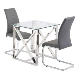 Albany Glass Square Dining Set In Clear With 2 Soho Chairs