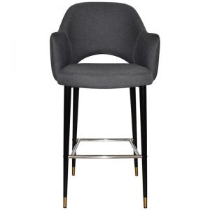 Albury Commercial Grade Gravity Fabric Bar Stool with Arm, Metal Leg, Slate / Black Brass