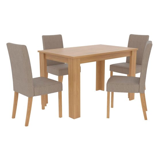 Atlanta Wooden Dining Table Set With 4 Beige Dining Chairs