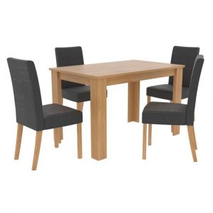 Atlanta Wooden Dining Table Set With 4 Grey Dining Chairs