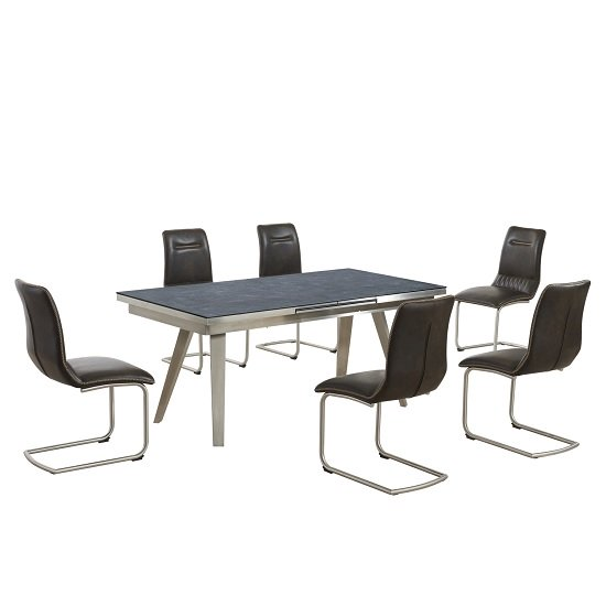 Ava Extending Dining Table In Grey And 6 Woodland Brown Chairs