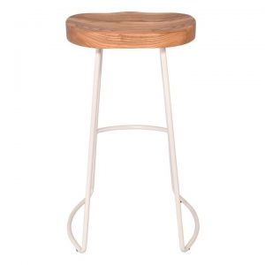 Barrack Elm Timber & Metal Bar Stool