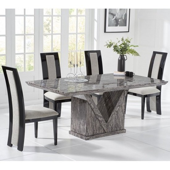 Belcher Small Grey Marble Dining Table With Four Allie Chairs