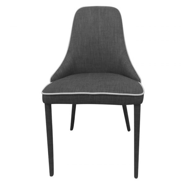 Brescia Commercial Grade Fabric Dining Chair, Charcoal