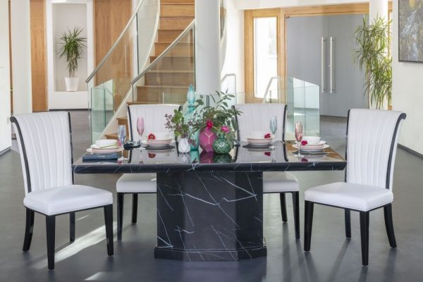 Buy Urban Deco Naples Black Marble 180cm Dining Table with 4 Cadiz White Chairs and Get 2 Extra Chairs Worth £298 For FREE