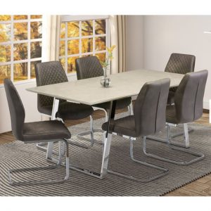 Capri Marble Effect Dining Set In Taupe With 6 Capri Chairs