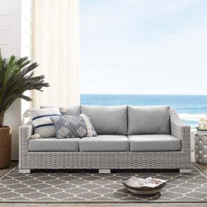 Conway Sunbrella® Outdoor Patio Wicker Rattan Sofa in Light Gray Gray