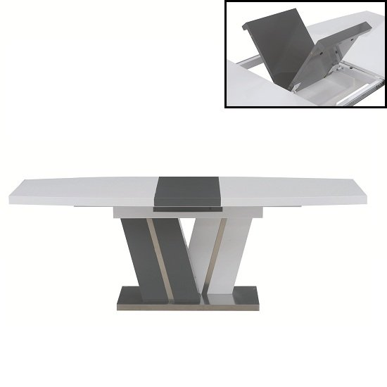 Craven Extendable Dining Table In White And Black High Gloss