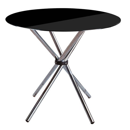Criss Cross Dining Table Round In Black Glass
