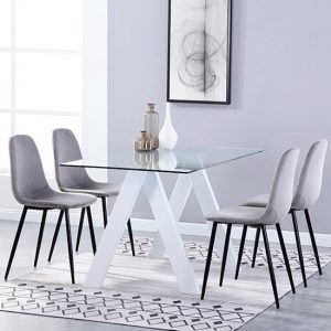 Criss Cross Glass Dining Set With 4 Alpine Grey Velvet Chairs