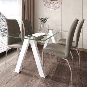 Criss Cross Glass Dining Set With 4 Boston Mink Leather Chairs