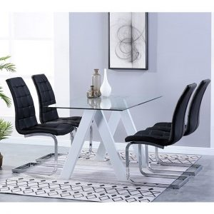 Criss Cross Glass Dining Set With 4 New York Black Chairs