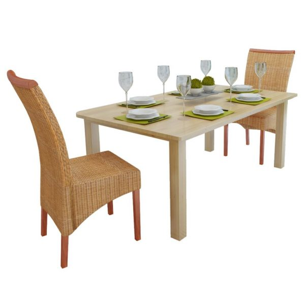Dining Chairs Rattan (2 Pcs) - Brown