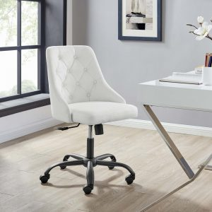 Distinct Tufted Swivel Upholstered Office Chair in Black White
