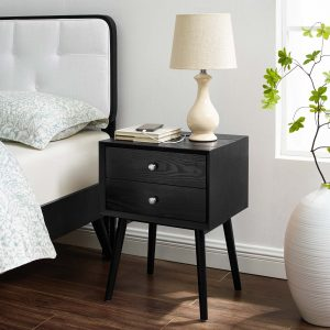 Ember Wood Nightstand With USB Ports in Black Black