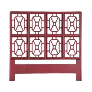Fretwork Headboard In Legacy Red design by Burke Decor Home