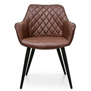 Gozzano PU Leather Dining Armchair, Set of 2, Brown