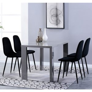 Joule Dining Set In Grey Gloss With 4 Black Alpine Chairs