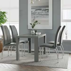 Joule Dining Set In Grey Gloss With 4 Grey Boston Chairs