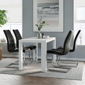 Joule Dining Set In White Gloss With 4 Black New York Chairs