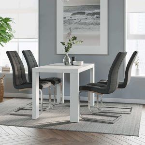 Joule Dining Set In White Gloss With 4 Charcoal New York Chairs