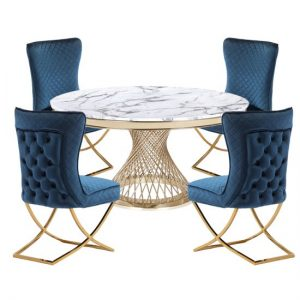 Marcelo White Marble Dining Set With 4 Blue Lorenzo Chairs