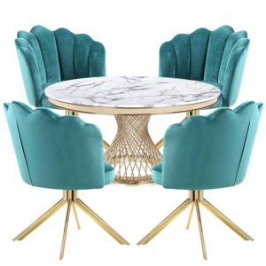 Marcelo White Marble Dining Set With 4 Green Mario Chairs