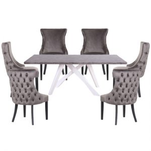 Marigje Wooden Dining Set With 6 Grey Boston Chairs