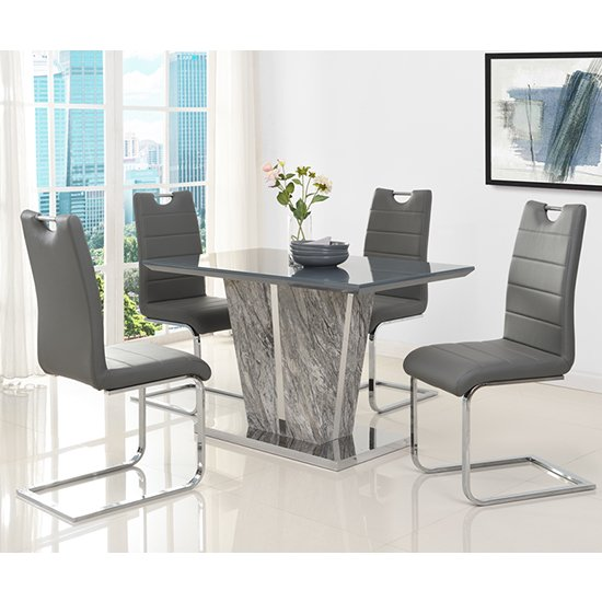 Melange Small Grey Glass Dining Set With 4 Grey Petra Chairs