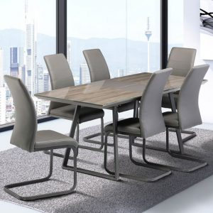 Michigan Extending Dining Set In Grey Oak With 6 Michigan Chairs