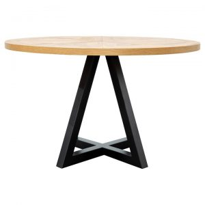 Noakes Timber & Metal Round Dining Table, 125cm