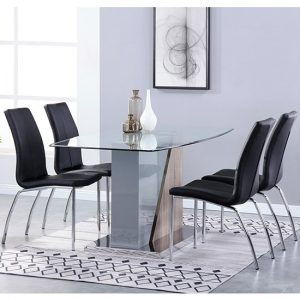 Opus Glass Dining Set With 4 Boston Black Leather Chairs