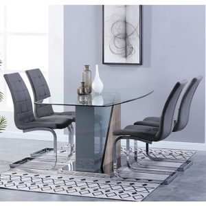 Opus Glass Dining Set With 4 New York Grey Leather Chairs