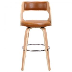 Oslo Commercial Grade Swivel Counter Stool, Tan / Oak with Silver Footrest