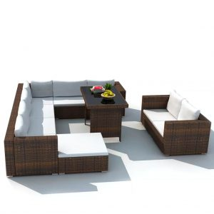 Outdoor Lounge Set Brown Poly Rattan 28 Pieces