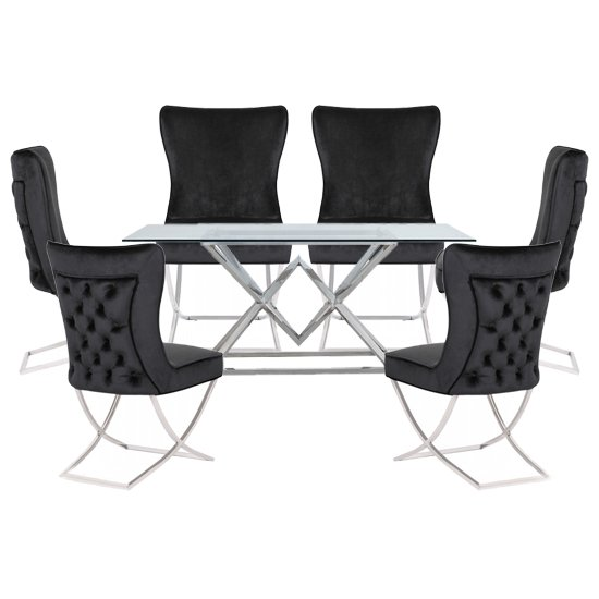 Parma Clear Glass Dining Set With 6 Black Cavalli Chairs