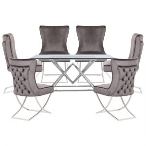 Parma Clear Glass Dining Set With 6 Grey Cavalli Chairs