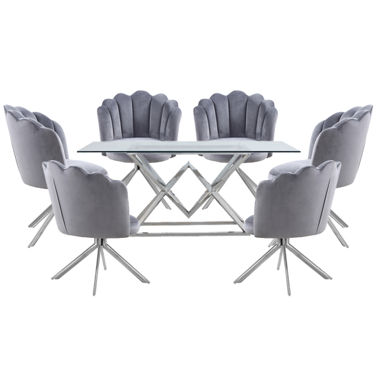 Parma Clear Glass Dining Set With 6 Grey Mario Chairs