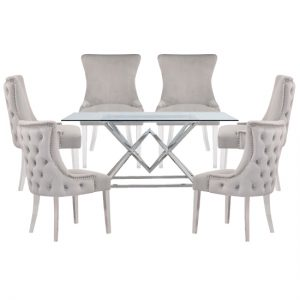 Parma Clear Glass Dining Set With 6 Light Grey Leo Chairs